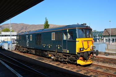 Class 73 Electro-diesel in Caledonian Sleeper livery at Fort William Station